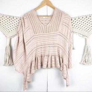 ⭐️ Anthro Little Yellow Bird crocheted top pink